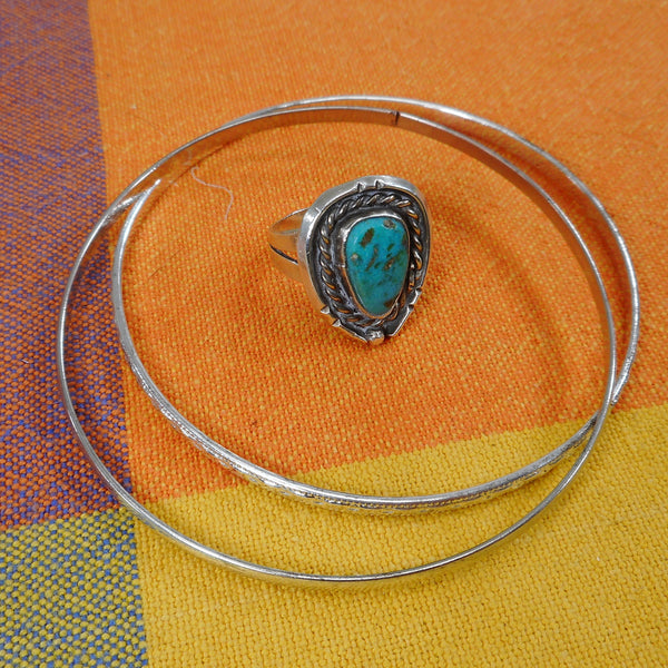 Teardrop Turquoise Stone Silver Vintage Trade Navajo Ring