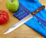 "Robinson USa Vintage Stainless Kitchen Knife - 8"" Serrated Blade Slicing Wood Handle Unused"
