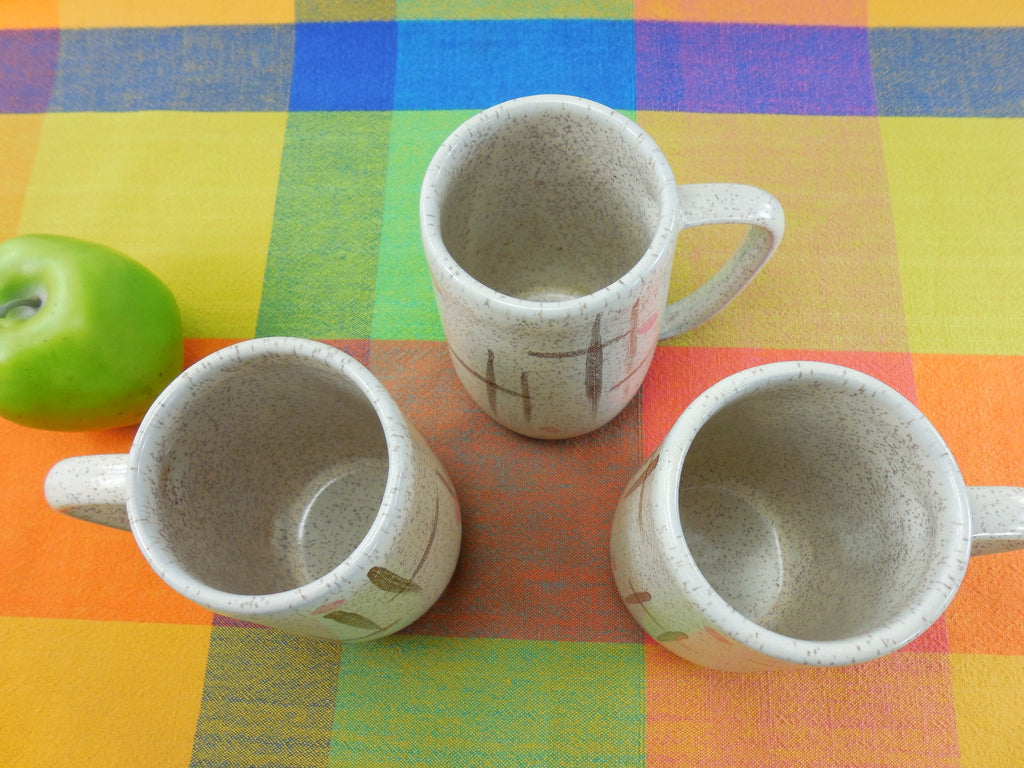 Walter Sullivan Roche Signed Art Pottery Mugs - Pink Brown White D Handle top view