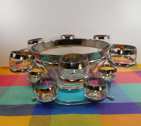 Unbranded Vintage MCM Silver Band Glass Punch Bowl 12 Roly Poly Cup Set 2 Tier Chrome Stand