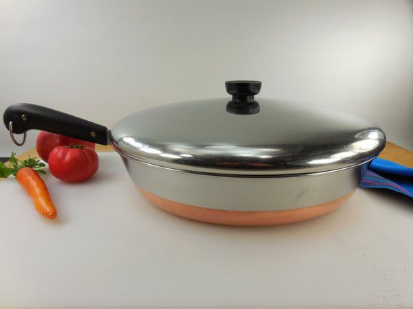 "SOLD... Revere Ware Large 12"" Chicken Fry Pan Skillet - Pre 1968 Process Patent - Vintage Stainless Copper Clad Cookware"