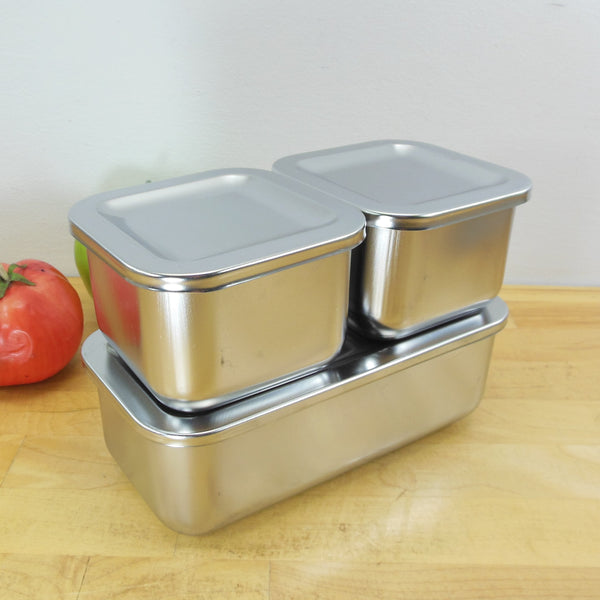 Revere Ware Stainless 3 Set Refrigerator Dishes Storage Containers NOS Unused