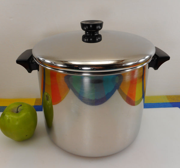 Revere Ware Tall 8 Quart Stock Pot & Lid - Tri-Ply Disc Stainless 1995 Clinton Ill. USA...