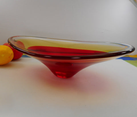 Sommerso Vintage Red Yellow Free Form Art Glass Centerpiece Bowl - Unmarked Maker