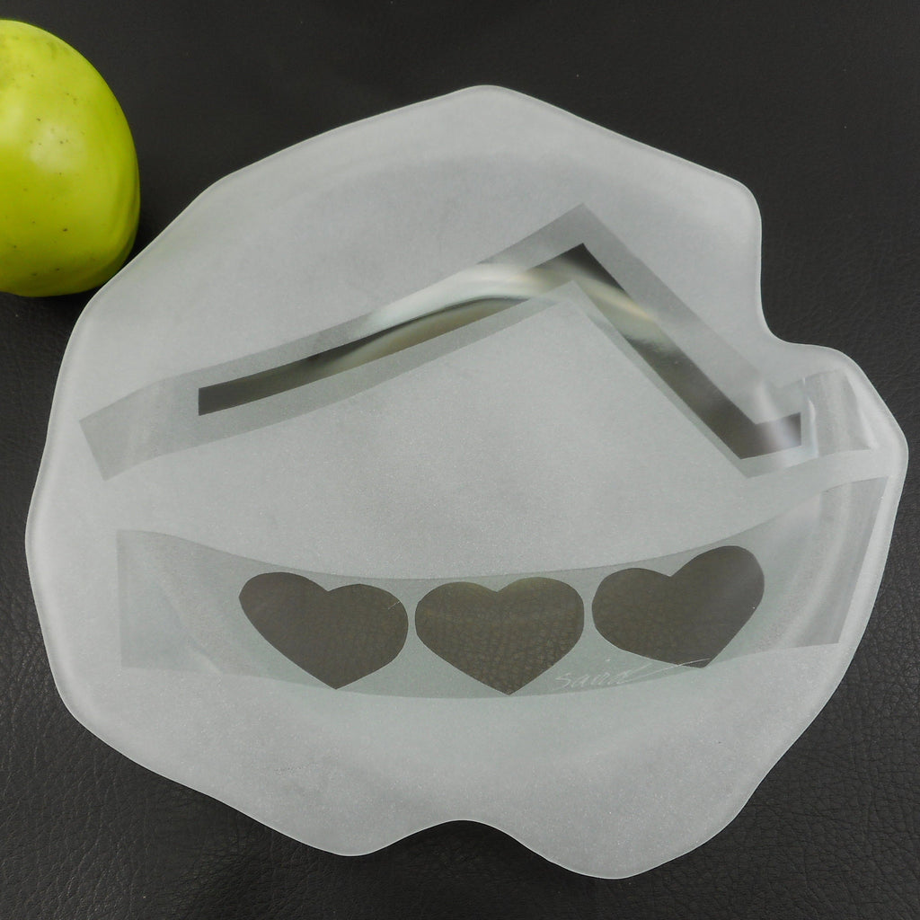 Saird Signed Art Glass Modern Bowl Etched Sand Blasted Hearts White