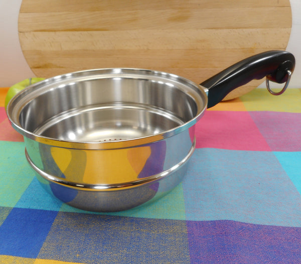 "Saladmaster Stainless Steel 8"" Saucepan Steamer Insert with Black Handle"