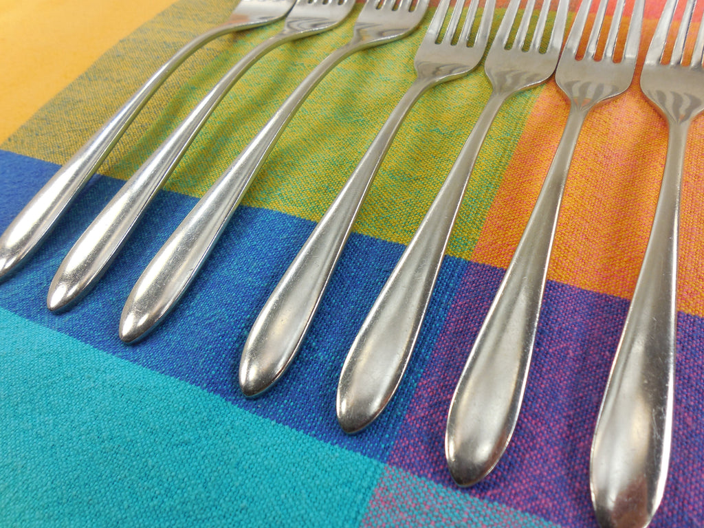 Sambonet Stainless Flatware Dream Pattern - 7 Used Forks - Table Dessert Salad... handle view