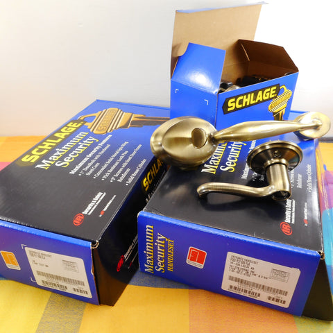 Schlage Plymouth Antique Brass Entry Lever Door Handle Set Double NIB