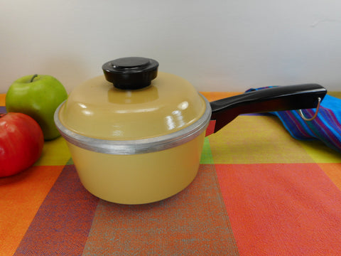 Sears Cast Aluminum 1 Quart Saucepan Harvest Gold Yellow - Mid Century Cookware -