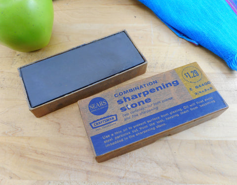 Sears Craftsman Vintage Combination Sharpening Stone in Box 2x5
