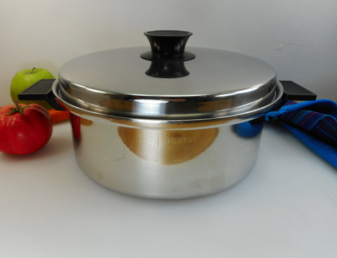 Sears Super Weight Stainless Steel Cookware - 4 Quart Stock Pot... Heavier Vintage