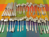 SOLD Mismatched Silverware Silverplate Set - Service for 8 - Shabby Cottage Floral Mixed Patterns Makers Flatware
