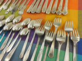 SOLD Mismatched Silverware Silverplate Set - Service for 8 - Shabby Cottage Floral Mixed Patterns Makers