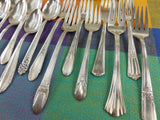 Vintage Mismatched Silverware Silverplate Set - Service for 8 - Handle View