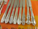 Vintage Mismatched Silverware Silverplate Set - Service for 8 - Handle View 2
