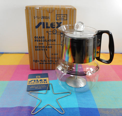 Proctor Silex Stove Top Glass Coffee Percolater 8 Cup Original Box Instructions