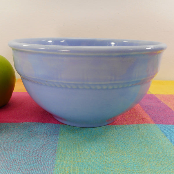 "Unbranded Vintage 7-3/4"" Sky Blue Pottery Stoneware Mixing Serving Bowl Bead Braid Band"