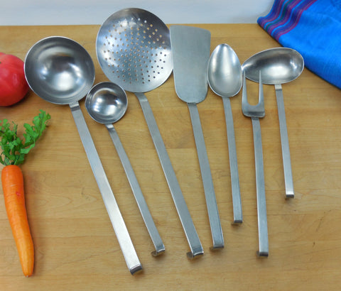 Sola Holland Mid Century Kitchen Utensil 7 Set - Stainless Steel Hook Handle