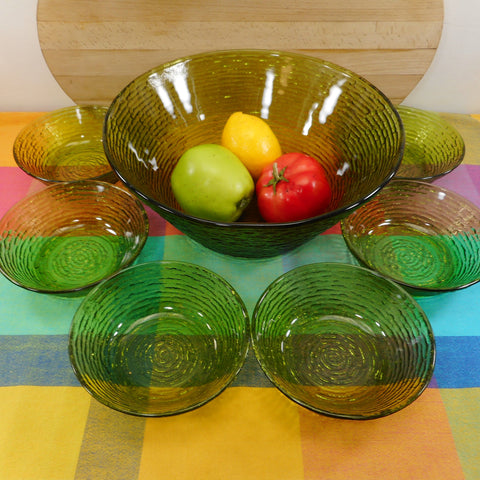 Anchor Hocking Soreno Green Glass Salad Serving 7 Bowl Set MCM