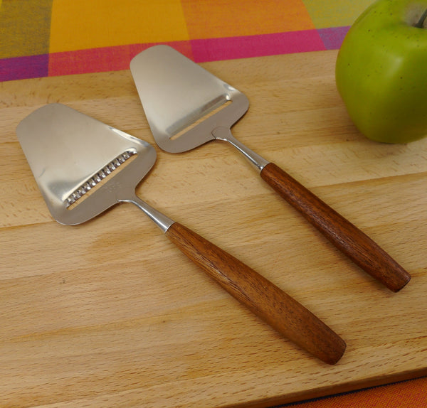 Spar Norway - Pair Teak 18/8 Stainless Cheese Butter Slicer Planes - Serrated & Smooth Blade
