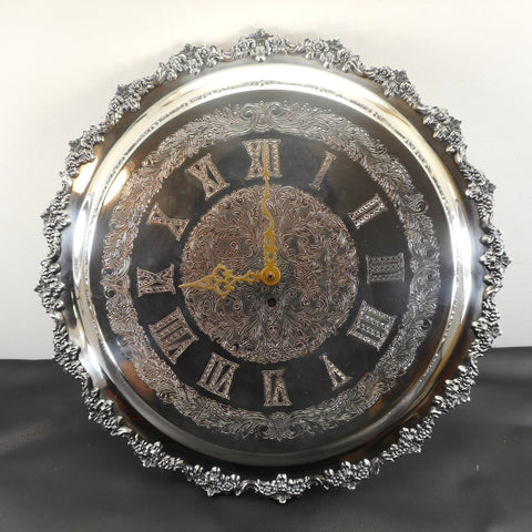 "Unbranded Vintage Silver Plate Engraved 16.5"" Wall Clock Ornate Roman Numerals"