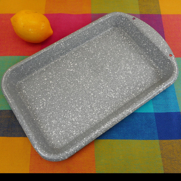 Splatterware Vintage Enamelware Grey White Speckled Roasting Baking Pan