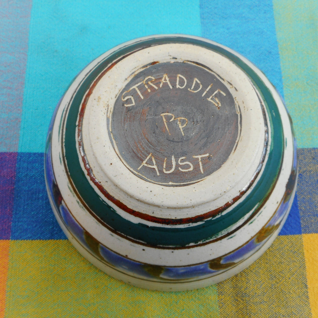 "Straddie Australia 6"" Art Studio Pottery Bowl Signed PP... Fish Blue Green Brown"