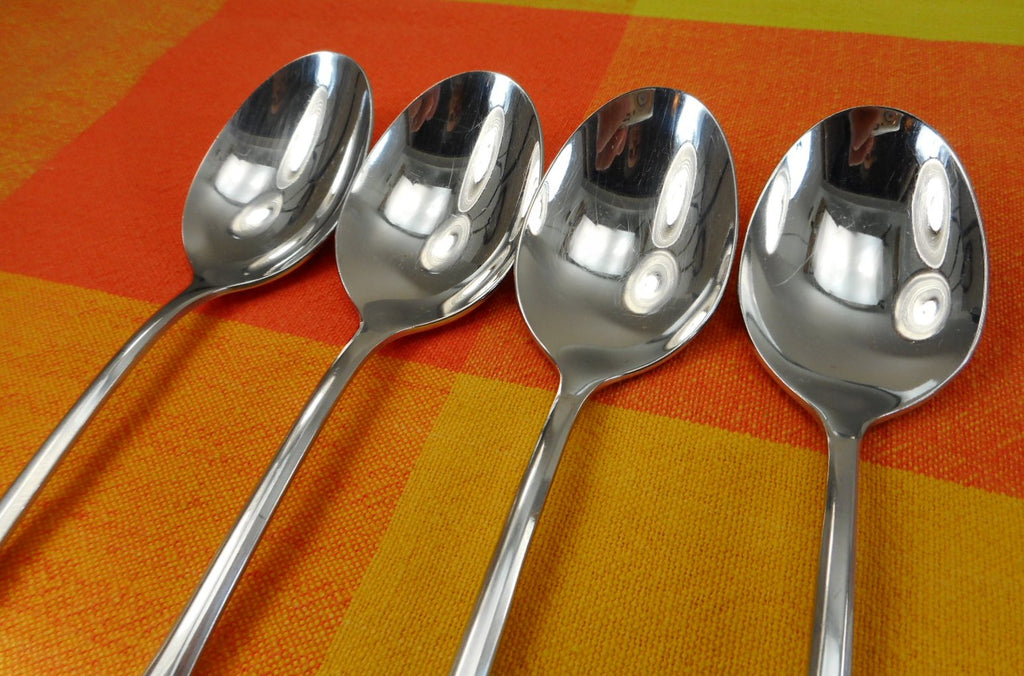 Oneida SSS Colonial Boston - Minute Man Stainless Flatware - 4 Place Soup Spoons Shiny
