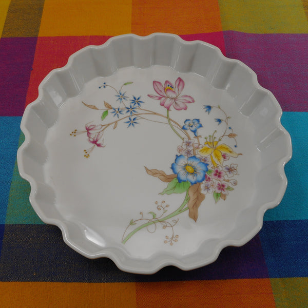 Stafford 1984 Porcelain Meadow Flowers Pie Plate Dish Ovenware