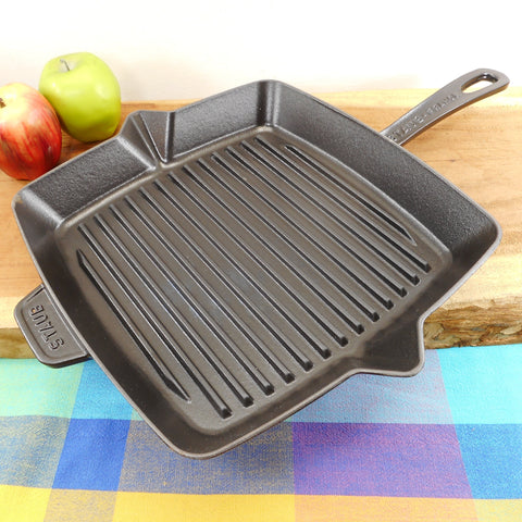 "Staub France Cast Iron Enamel 12"" Square Grill Pan Skillet Black Turquoise"