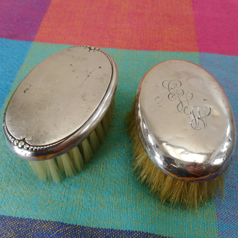 Sterling Silver Vintage Pair Oval Vanity Brushes 3""