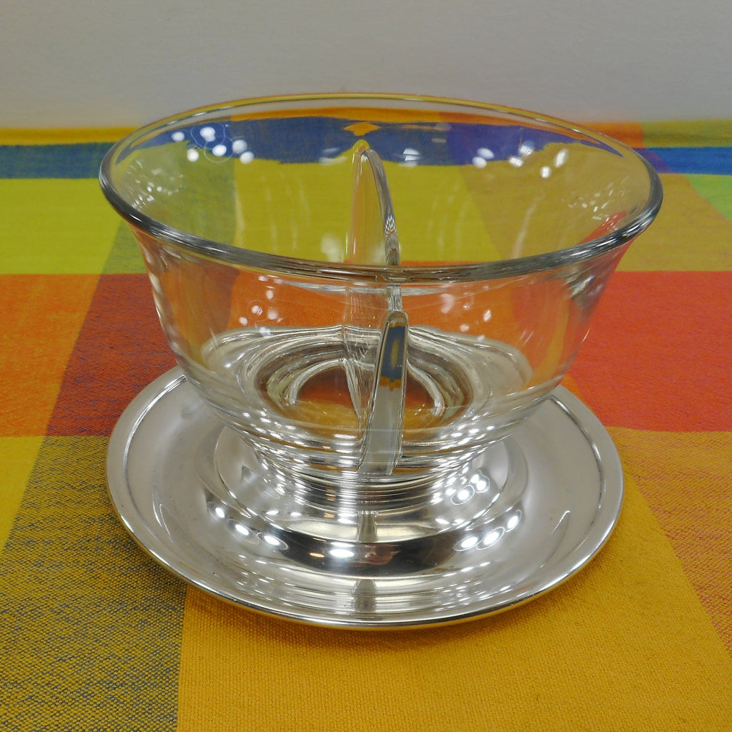 Unbranded Sterling Silver Clear Glass Divided Condiment Bowl Mustard Mayonnaise