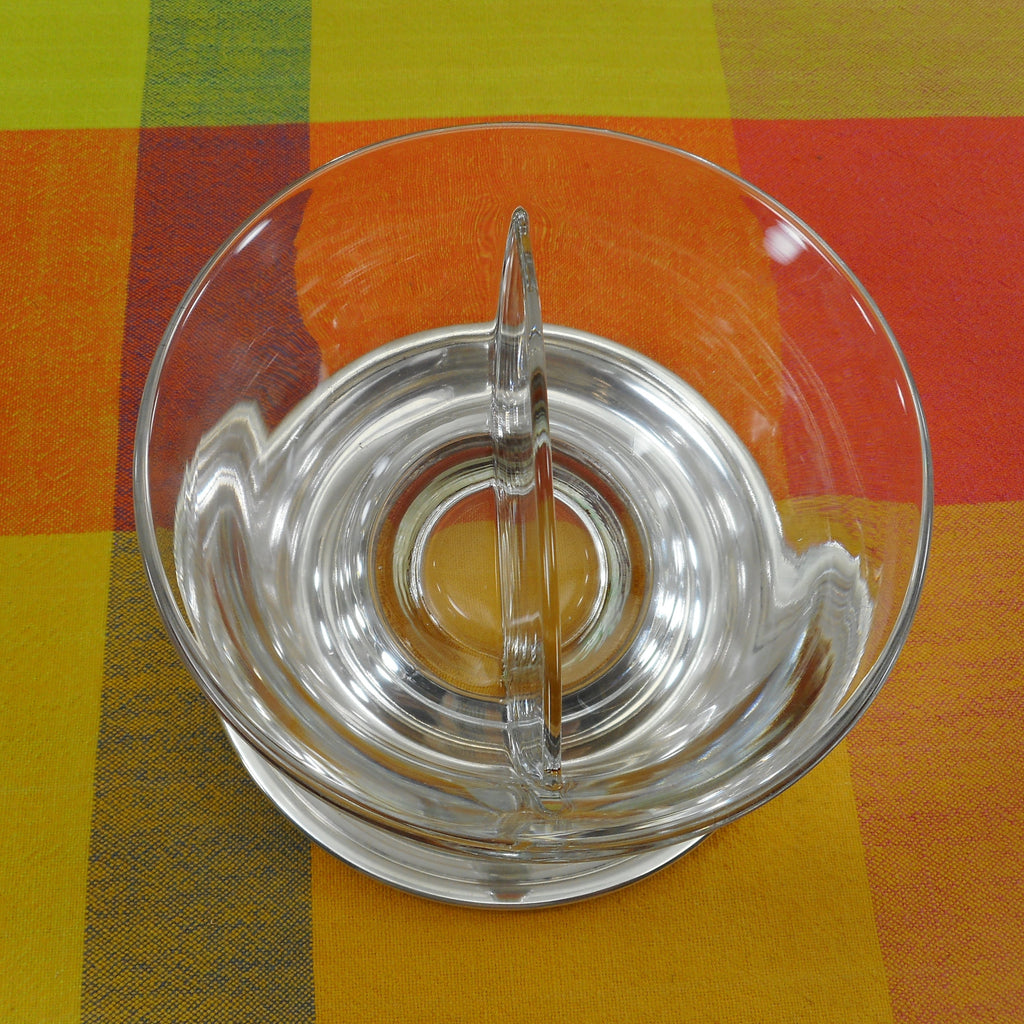 Unbranded Sterling Silver Clear Glass Divided Condiment Bowl Mustard Mayonnaise Vintage