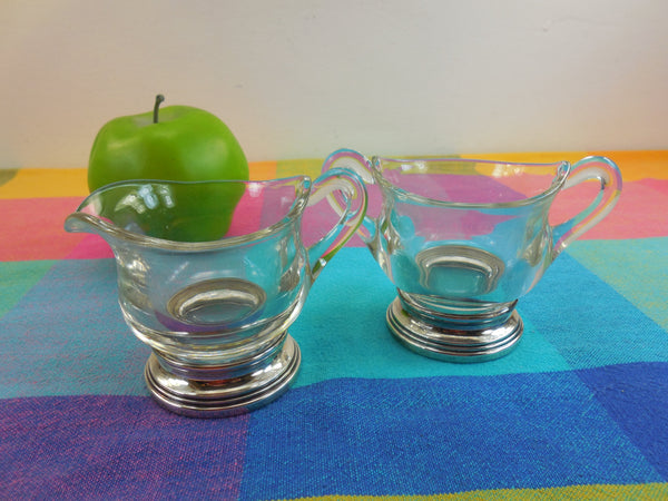 Sterling Silver Base - Glass Sugar Bowl & Creamer Vintage Set