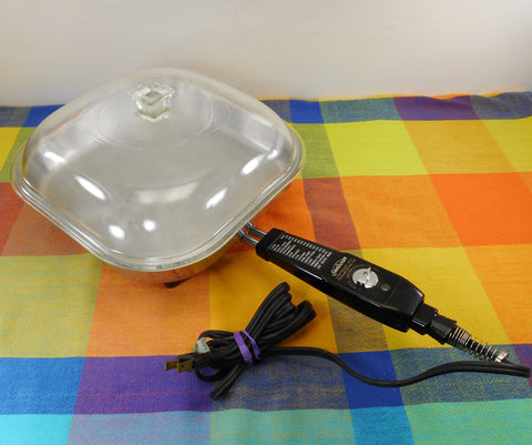 Sunbeam Electric Fry Pan Skillet Model FP-10A Glass Lid - 1950s Kitchen Cookware Appliance