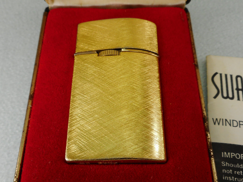 Swank J2 Windproof Butane Lighter with Case Papers  - Brushed Gold Tone Vintage