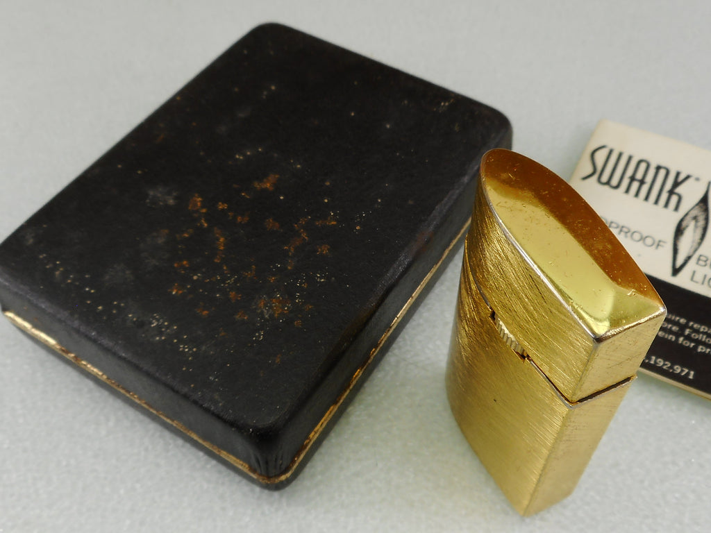 Swank J2 Windproof Butane Lighter with Case Papers  - Brushed Gold Tone Japan