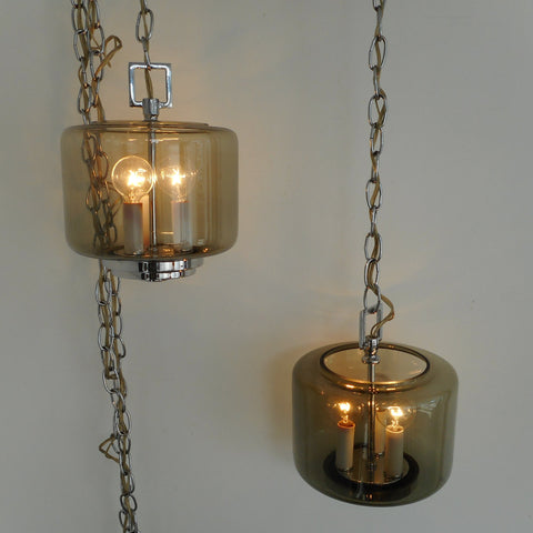 MCM Chrome Smoked Cylinder Glass Swag Lamp Ceiling Light Pair