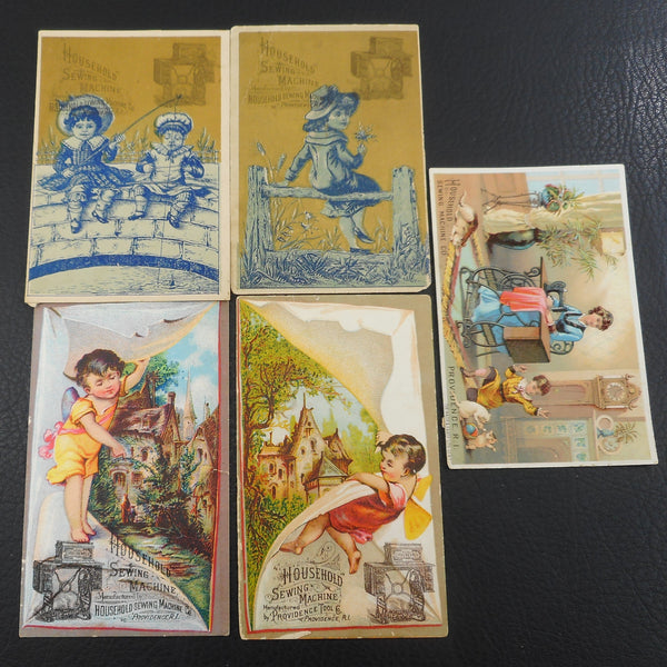 Antique Trade Cards Household Sewing Machine Providence Tool Co. - 5 Lot