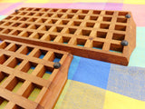 Danish Modern Pair Teak Grid Lattice Trivets - Dansk Digsmed Kalmar Era - Unsigned... black rubber feet