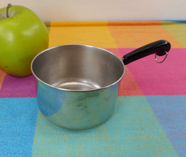 SOLD... Revere Ware Mini Toy Size Saucepan Measuring 1 Cup in 1/3s 1/4s - Stainless Copper