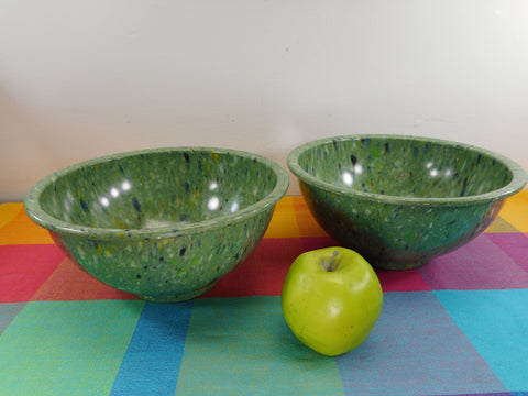 "Texas Ware Matched Pair Melamine Confetti Splatter 10"" Bowl - 118 Green"