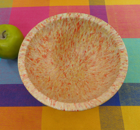 "Texas Ware Melamine Confetti Splatter 8"" Mixing Bowl - 111 Red Salmon Pink Yellow"