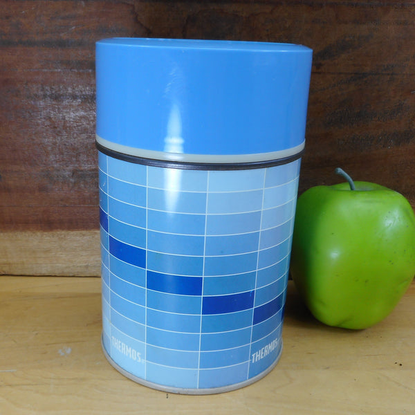 Thermos Bottle 7010 Blue Rectangles 10 oz. Vintage