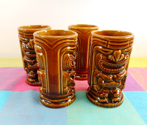 Tiki Leilani 4 Set Vintage Hawaiian Tropical Bar Mugs Brown Ceramic