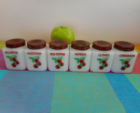 Tipp USA Cherries 6 Vintage Kitchen White Glass Spice Jars Set 1930s
