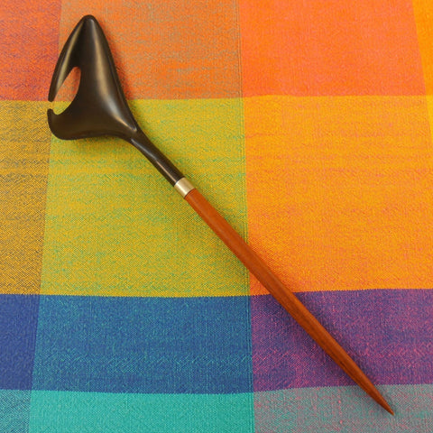 Vintage Astrid Wessels - Danish Modern Teak Wood & Black Nylon Salad Server