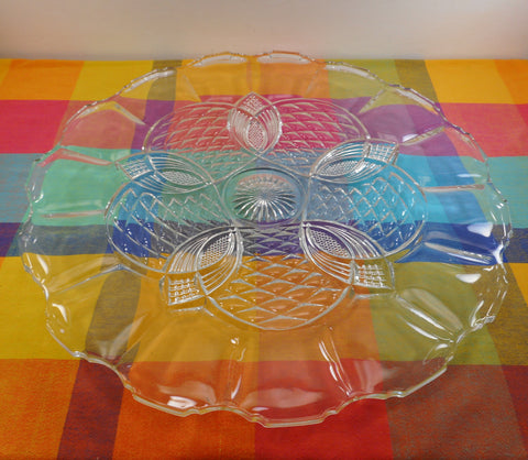 "Duncan & Miller King Arthur EAPG Large 22"" Torte Glass Plate Platter - Punch Bowl Underplate"