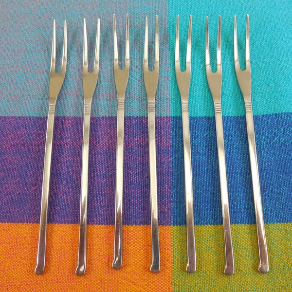 Towle Supreme 7 Lot Stainless Escargot Cocktail Forks Picks - Flat Pistol Grip Pattern