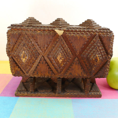 Antique Tramp Folk Art Carved From Cigar Box Footed Chest - 5 Cent Havana Cheroots Ladies